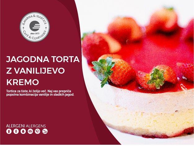 Jagodna torta z vanilijevo kremo 8-10 kosov (23,00€)