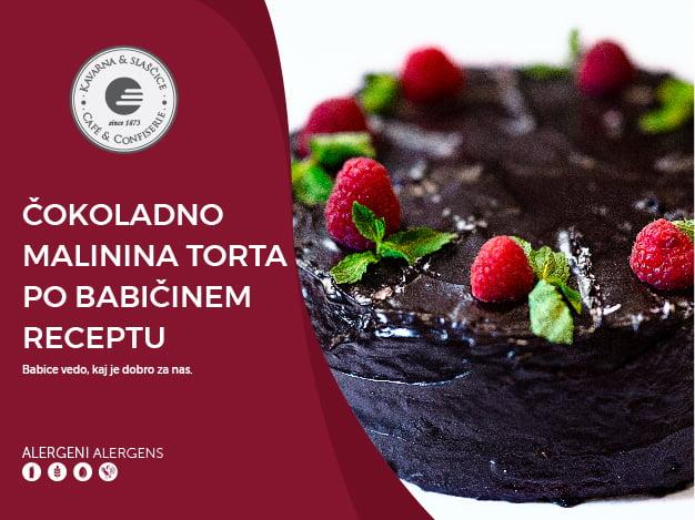 Čokoladno malinina torta po babičinem receptu 8-10 kosov (23,00€)